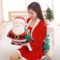 wholesale Christmas stamp pillow Santa Claus Plush cushion With a warm hand cover function High quality and low price