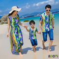 Summer Family Set Clothing 2015 Couple Outfits Mother Daughter Dresses Matching Beach Boy Tops and Tees Father Son Shirt A6011