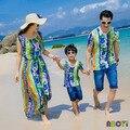 Verano que arropan el sistema 2015 pareja trajes vestidos madre hija coincidencia Beach Boy Tops y las camisetas de padre hijo camisa A6011