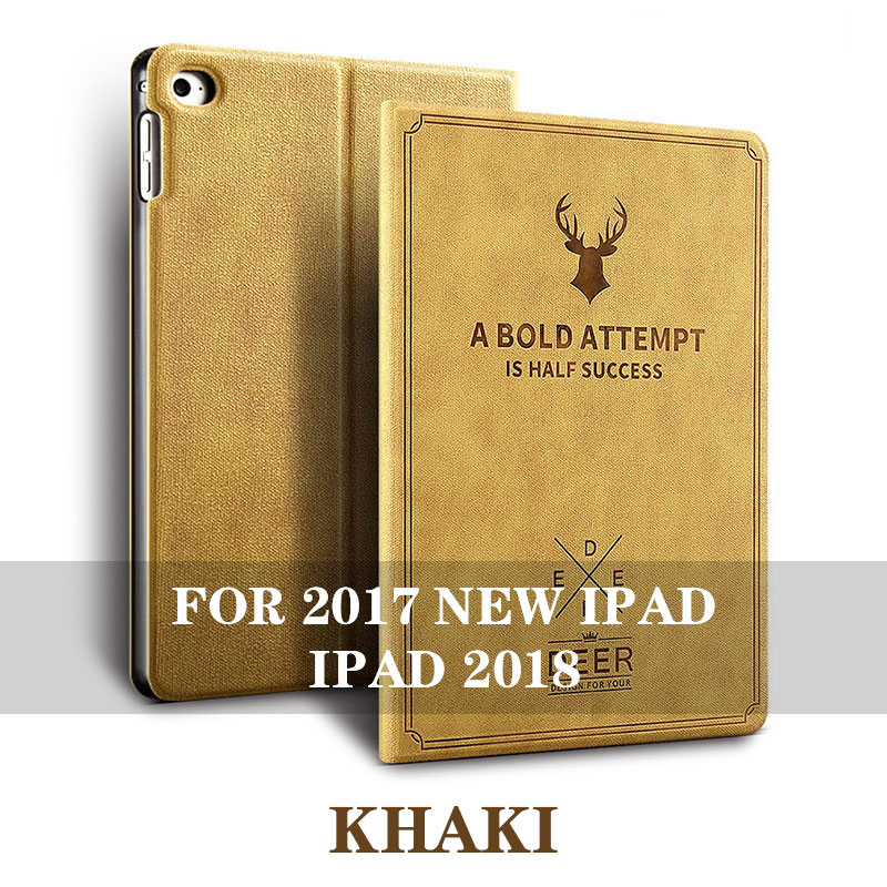 Khaki 5 colos iPad 9.7 inch smart case with stand and 3d deer pattern for iPad 2017, 2018