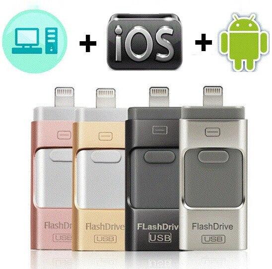 USB flash drive para iphone 7 além de apple 128g Pen Drive 32g 64g Android OTG Pendrive para sony huawei U Disco 3 em 1 memory stick