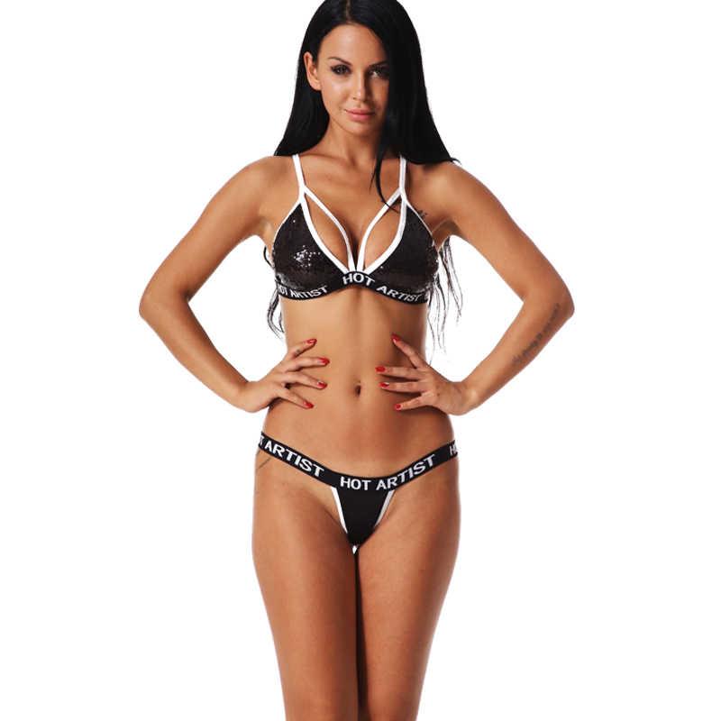 ff69946b7c6fd Sexy Lingerie Bra Set Sequin Glitter Bandage Cross Belt Hollow Bra Intimates  Ladies Underwear Set Erotic