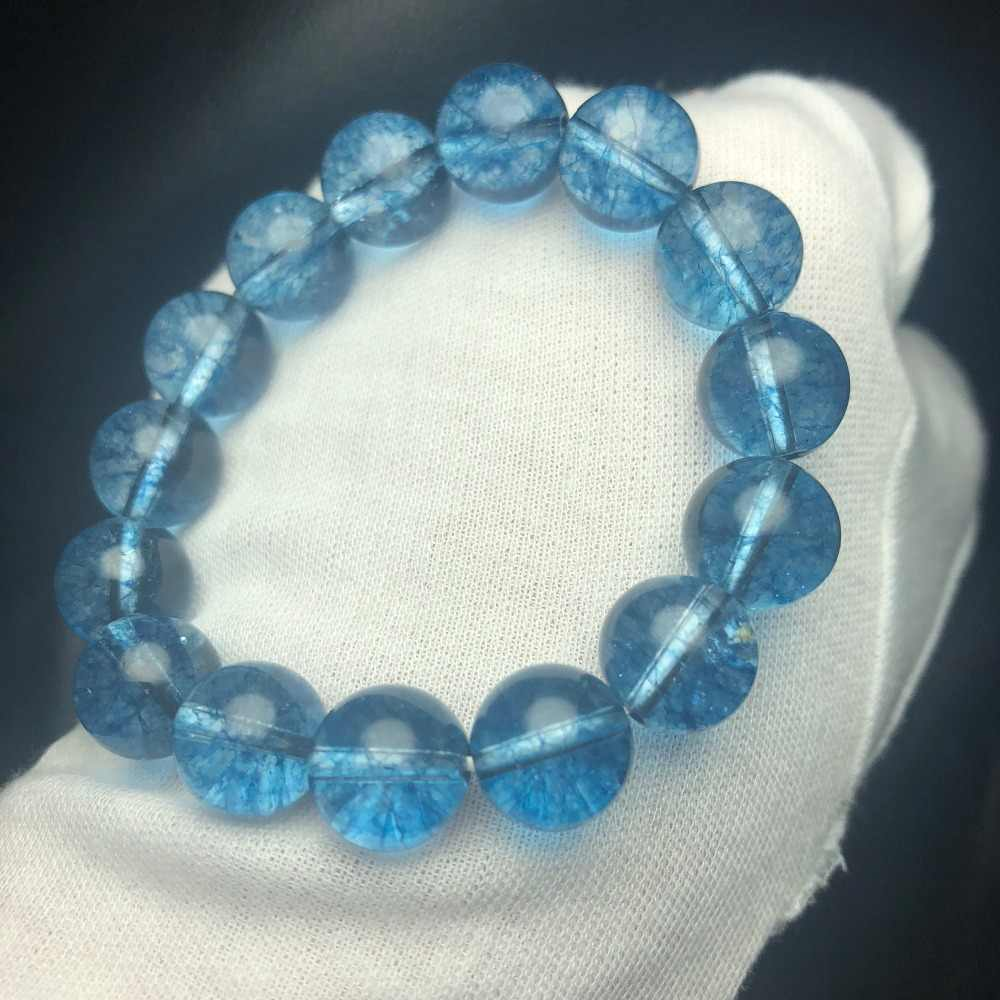 Fine Jewelry Natural Blue Quartz Gemstone Bracelets for women 12.72mm 38.6grams Fine Female Hologram Bracelet