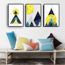 Abstract Geometry Gold Moon Posters and Prints Scandinavian Canvas Painting Minimalist Nordic Style Baby Kids Room Home Decor
