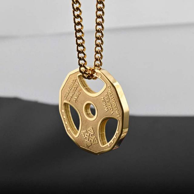 titanium dumbbell necklace jewelry men chain yowell pendant for fitness silver dp steel