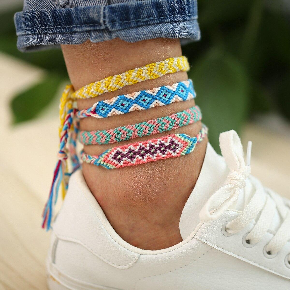 Bohemia Handmade Colorful Cotton Anklet Bracelet Female 2020 Summer Beach Sandal Leg Bracelet Vintage Rope String Ankle Bracelet 5