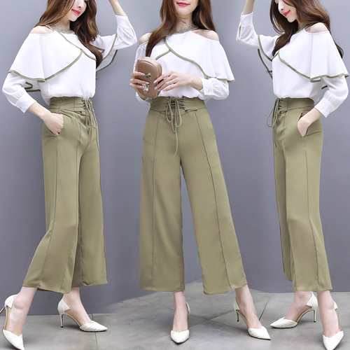 Printemps déesse 2 pièces ensemble femmes jambes larges Pantalon Taille Haute Femme Twinset Conjunto Feminino femmes costume d'été