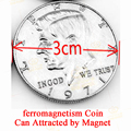 1 unids Ferromagnetismo Trucos de Magia con Monedas de Medio Dólar Puede Atraído por el Imán