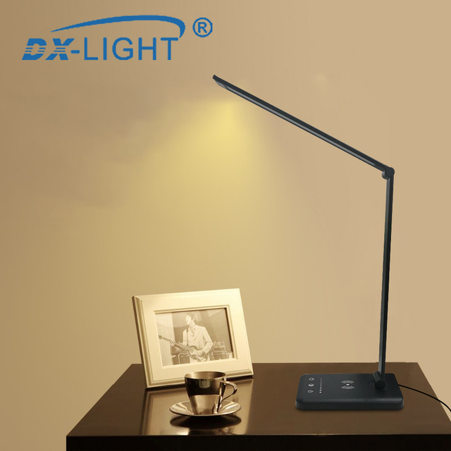 3 Level Brightness Adjustable USB LED Desk Lamp Multifunction Qi LED Table Lamp 5W Touch Switch USB/Wireless Charger Table Lamp