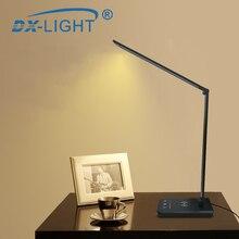 3 poziom jasności regulowane USB lampa biurkowa LED wielofunkcyjny Qi lampa stołowa LED 5 W przełącznik dotykowy USB/bezprzewodowa ładowarka lampa stołowa