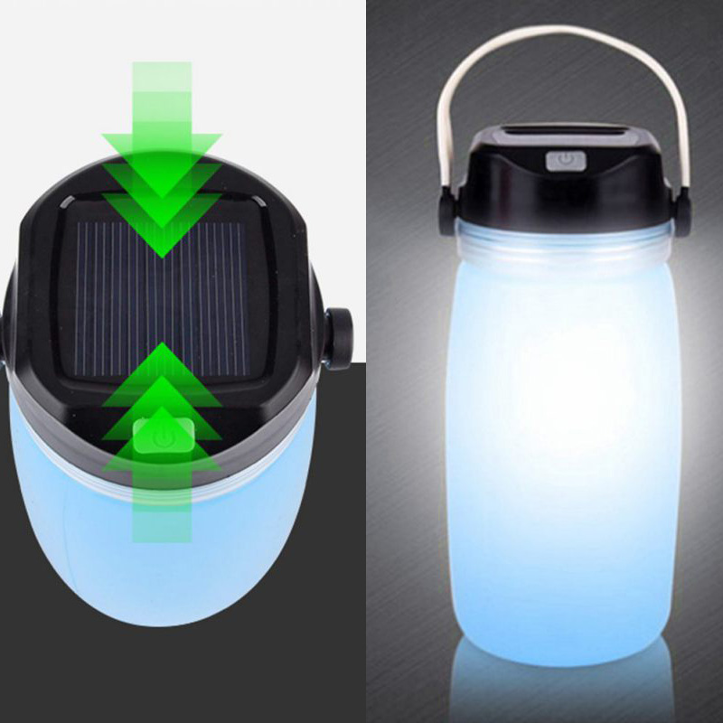 Outdoor Foldable Waterproof Silicone Water Bottle for Camping with LED Light, Solar Power or USB Rechargeable Light