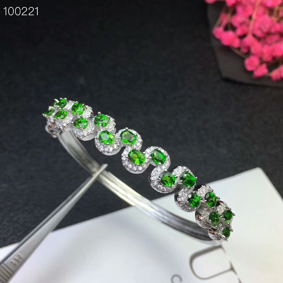 KJJEAXCMY fine jewelry 925 pure silver inlaid natural diopside female bracelet jewelry support test цена