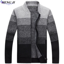 HENG JI 2017 new men's zipper knit cardigan, fashion and color with a velvet sweater, high quality, free shipping