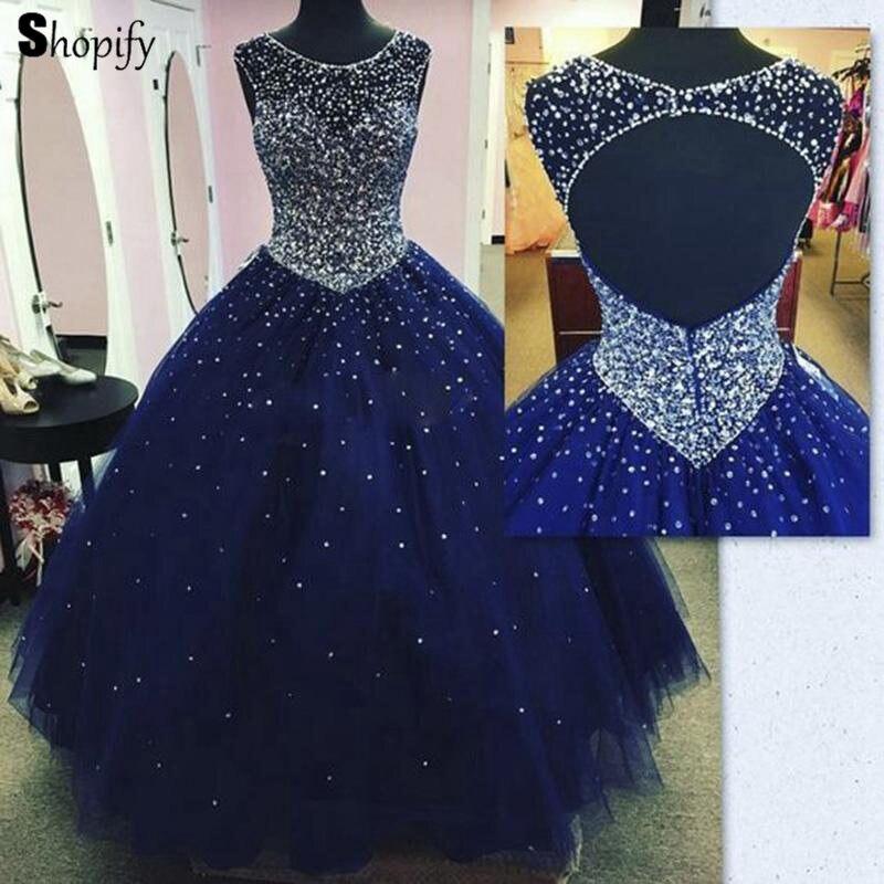 Sparkly longue Quinceanera 2019 robe de bal gonflé lourd perlé bleu marine longueur de plancher doux 16 seize robes de Quinceanera