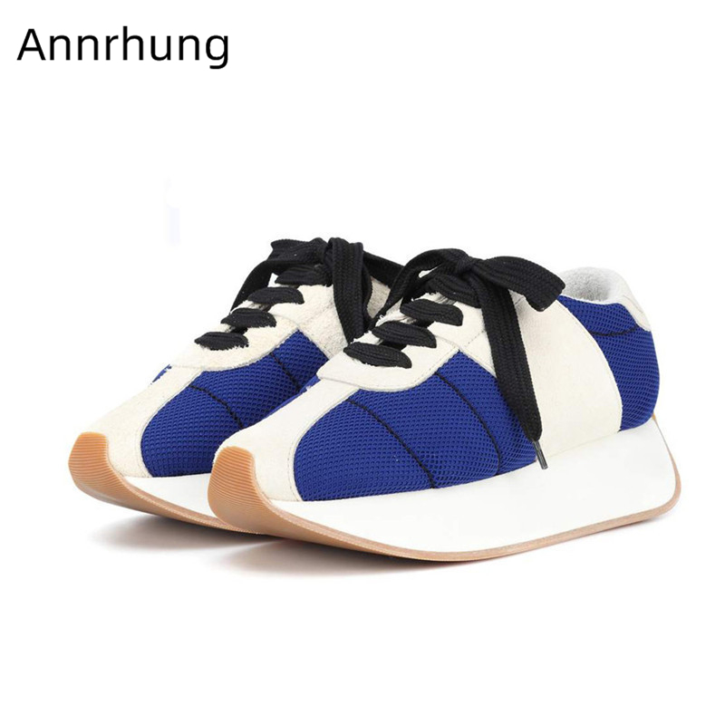 Mixed Color Platform Shoes Woman Air Mesh Cross-tied Flats Fashion  Outdoor Shoes Patchwork Chunky Sneakers Zapatos De MujerMixed Color Platform Shoes Woman Air Mesh Cross-tied Flats Fashion  Outdoor Shoes Patchwork Chunky Sneakers Zapatos De Mujer