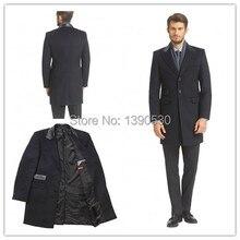 Новое Поступление зимняя Классика Черный Мужчины Долго 3 кнопки с контрастными кожаными назад цвет и билетов карманный заказунаша шерсть пальто