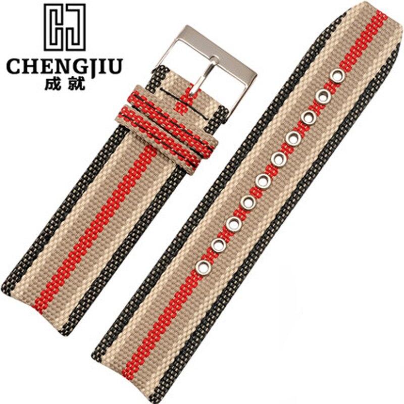 Toile Femmes Bracelet Pour Burberry Montre Vintage à Rayures 22mm Bracelets de Montre Hommes Toile Vintage Bracelet de Montre Montre Pulseras