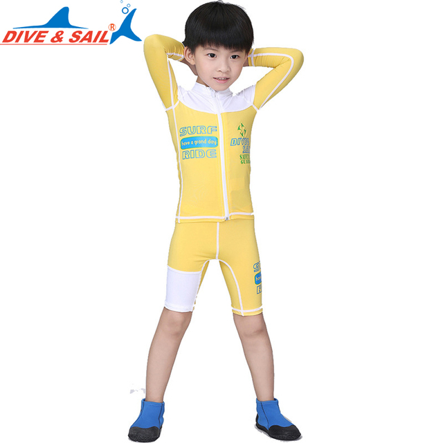 bd97f9d548 DiveSail girls boys swimming suits Long Sleeve shorts Floral Diving Suit  with front zipper Children Surfing rashguard for kids