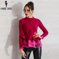 Missord 2017 Fashion Flounced Hedging Slim Was Thin Long Sleeved Sweater FT3518