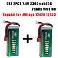 DXF 2 pz Buona Qualità Rc Lipo Batteria 7.4 V 3300 mah 2 S 20C Max 40C per Feiyue 03 Wltoys 12428 12423 1:12 RC Auto ricambi