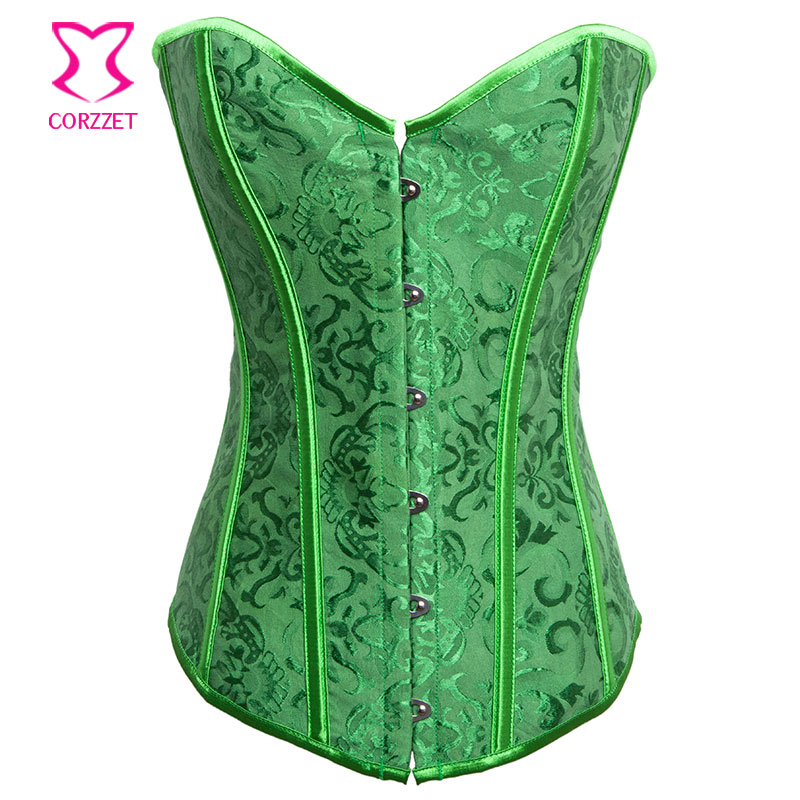 Gothic Corsets and Bustiers Women Green Bustier Corset Dress Burlesque Clothing Corpetes e Espartilhos Sexy Corselet