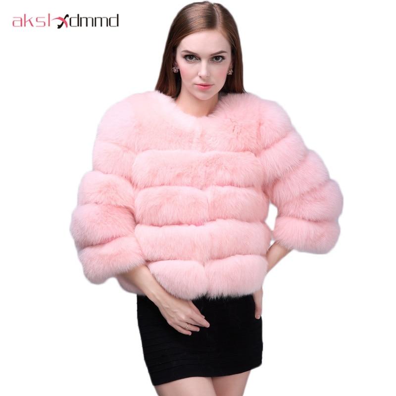 AKSLXDMMD Colete De Pele manteau en fausse fourrure mode femmes 2019 nouveau automne et hiver chaud fourrure vestes et manteaux Mex LH884