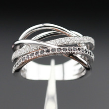 Women Silver Color Rings White CZ Imitated Black Jewelry