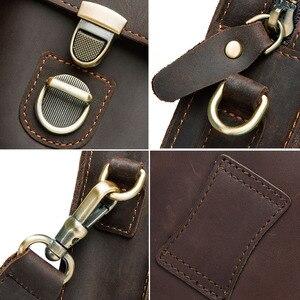 Image 5 - Top Quality Men Waist Pack Genuine Leather Vintage Travel Cell Phone Bag With Zipper Pocket Card Holder For Male Shoulder Bag
