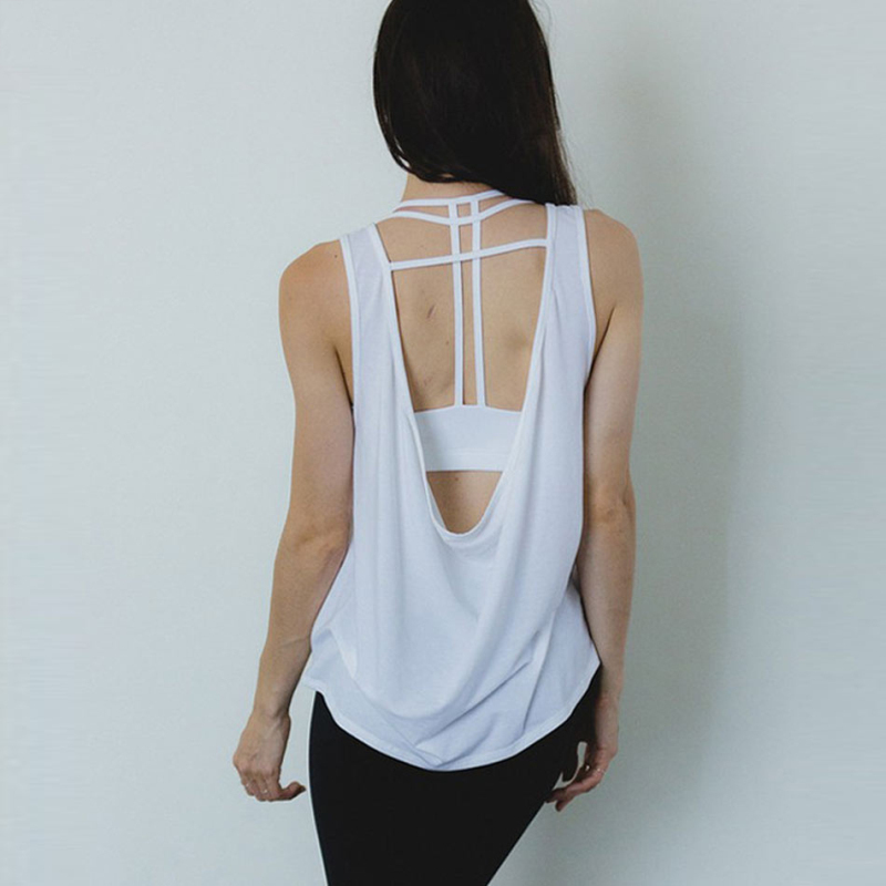 f25769aaeb771e Yoga Clothing Open Back Lightweight Yoga Tank Top Tee Backless Black White  Quick Dry Workout Running Shirts For Women Yoga Set-in Yoga Sets from  Sports ...