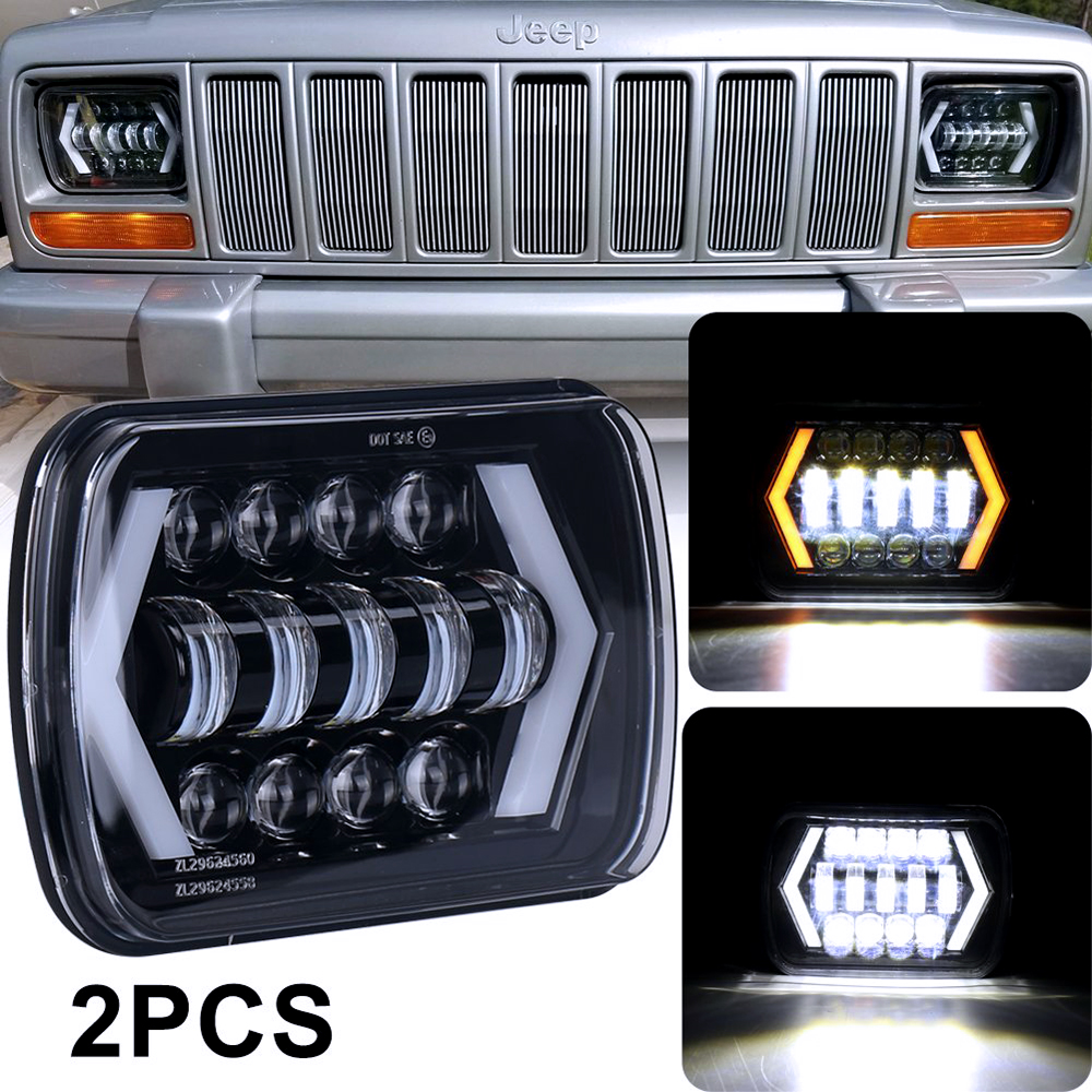 5x7 6x7 Truck LED Headlamp assembly With High Low Beam DRL Turn Signal 2 pcs Square