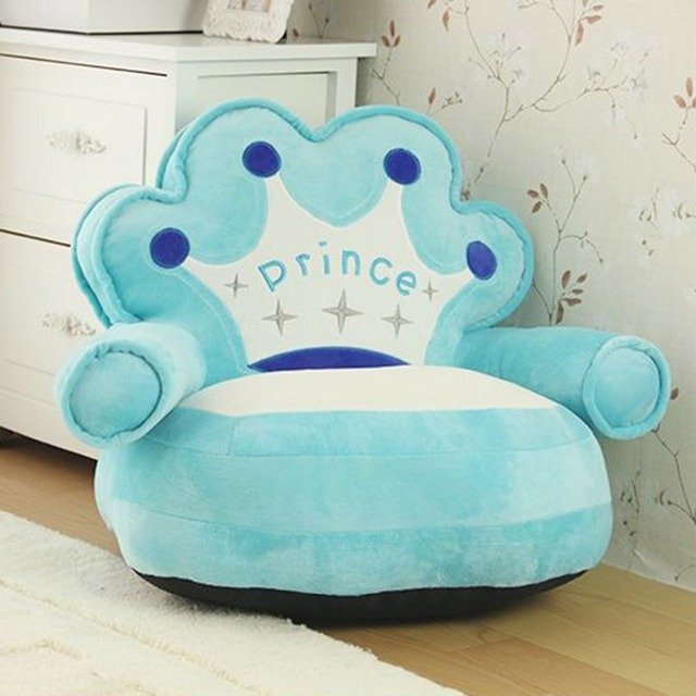 plush toddler chairs behind the chair one shot cartoon crown seat sofa baby nest puff bean bag children cover only no filling
