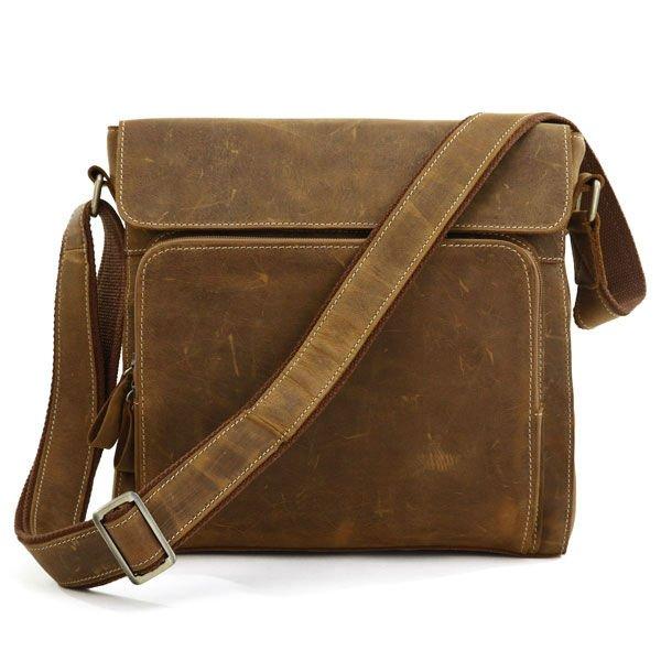 100% Genuine Crazy Horse Leather Men's Brown Messenger Cross Body Shoulder Bag 7051B-1