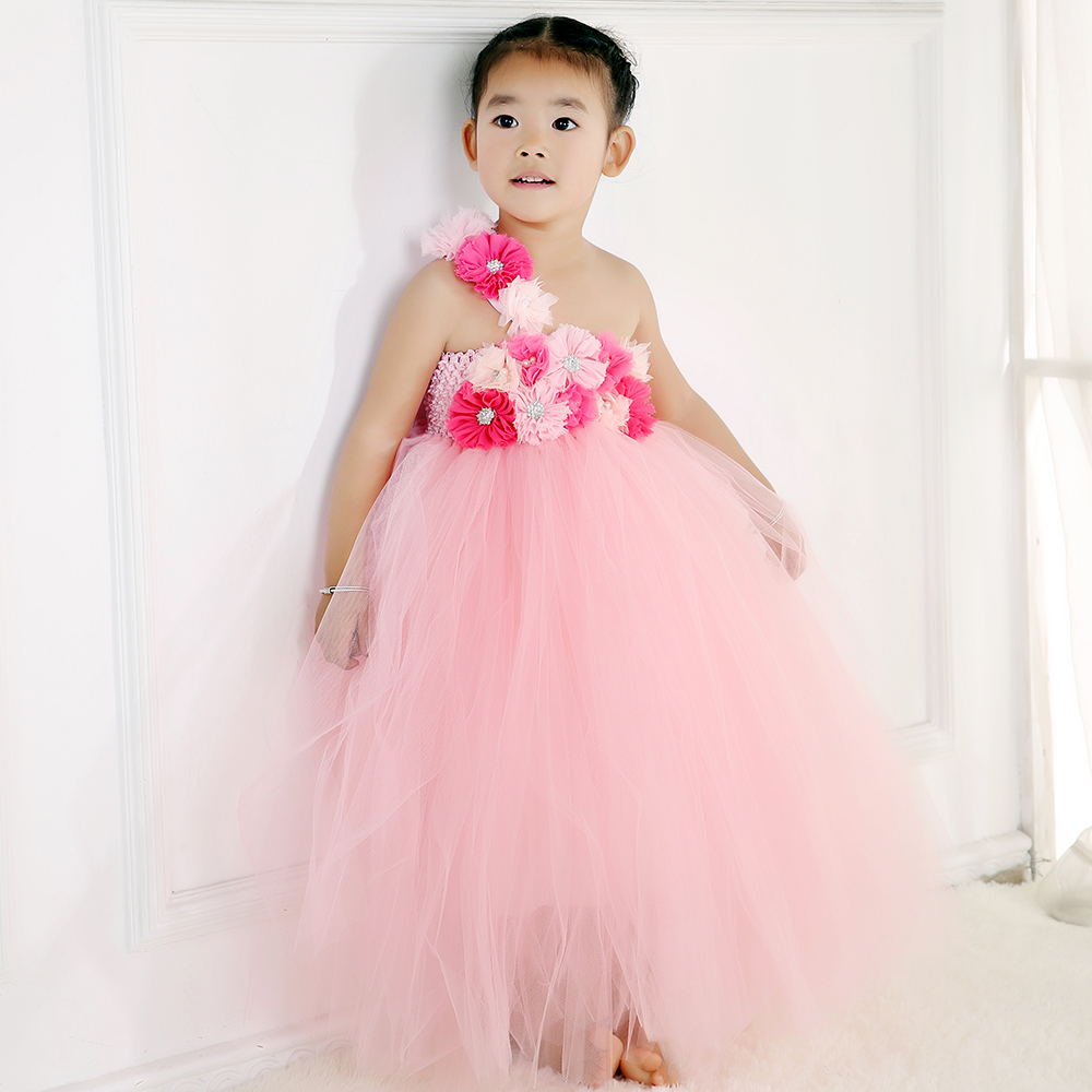 Gorgeous Princess Flower Girl Dress With Coral Pink Peals Flower Floor Length Girl Prom Dress for Wedding Party pink coral