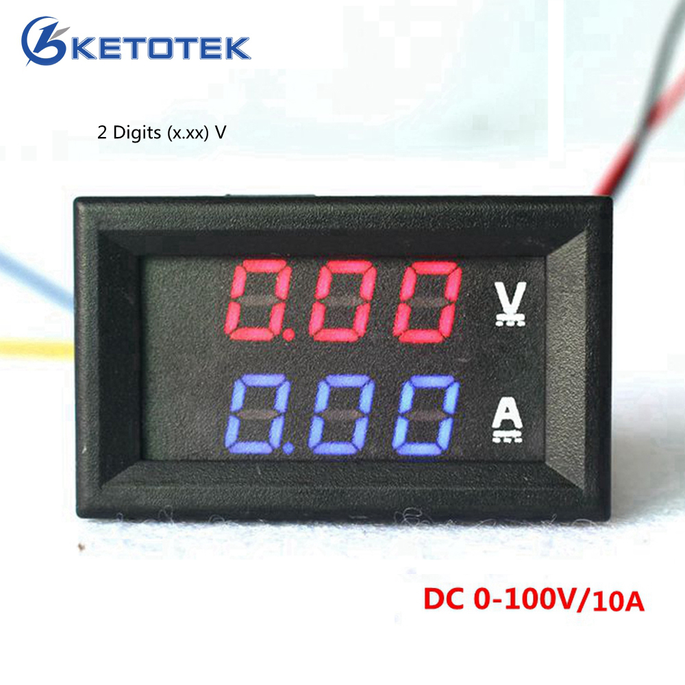 Car Red Blue LED DC 0-100V/10A Motorcycle Digital Amp Meter Volt panel Meter Gauge Ammeter Voltmeter digital 2 2 lcd red led panel 0 10a digital meter ammeter black