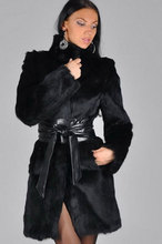 Women Black Faux Rabbit Fur Coat Coats for Winter Long