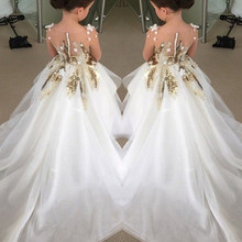 Модное бальное платье из органзы с аппликацией и блестками; Длинные Платья с цветочным узором для девочек для свадебной вечеринки; праздничное платье на заказ