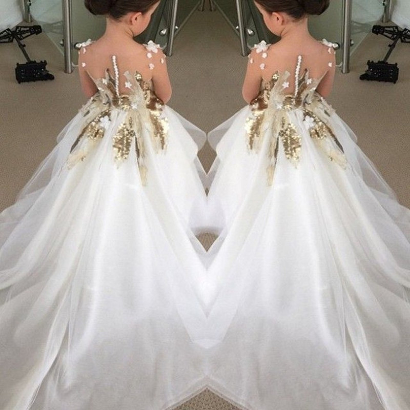 Fashion Appliques Sequins Ball Gown Organza Long Train Flower Girls Dresses for Wedding Party Pageant Custom Made