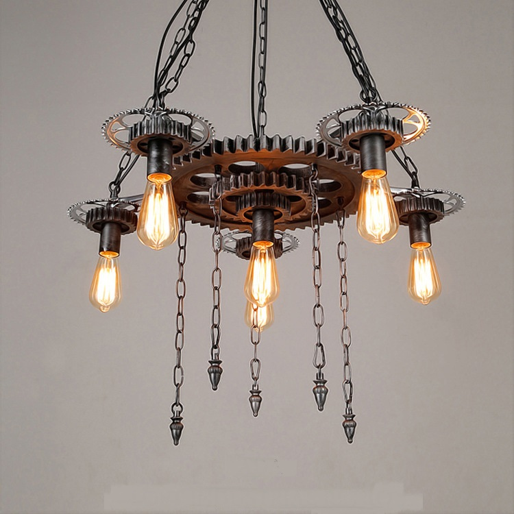 American style gear chandelier personality iron living room bar clothing store Bar Lighting pendant lamps ZA цена