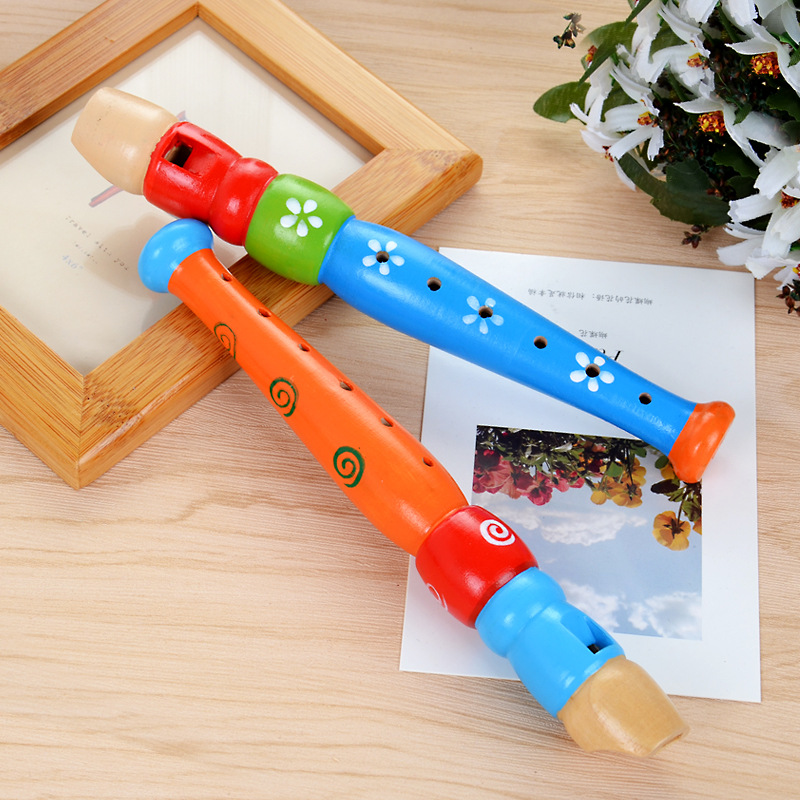 Colorful Wooden Trumpet Buglet Hooter Bugle Musical Instrument Educational Toy Gift For Kids Children Funny Piccolo