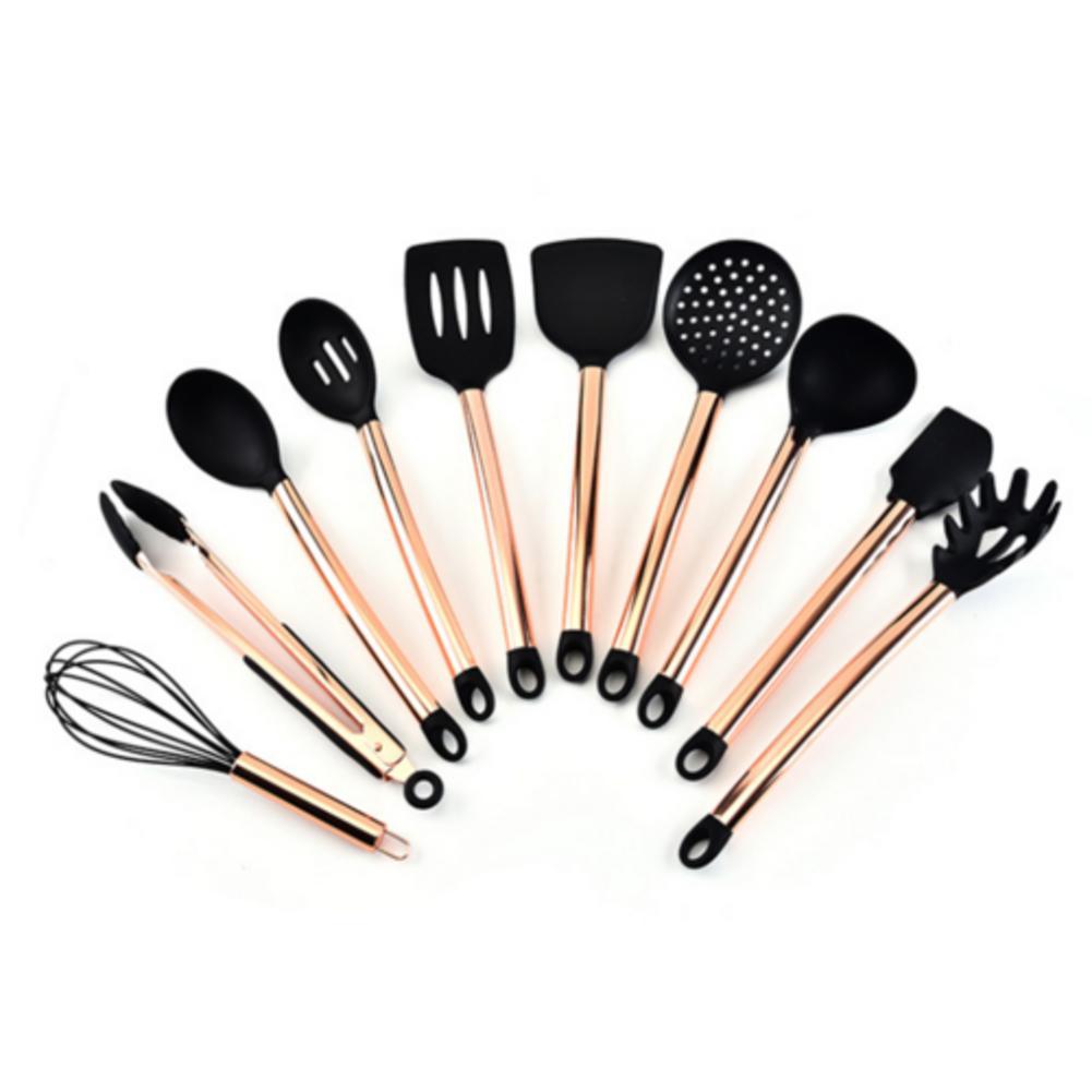 11 pièces cuisine Silicone antiadhésif cuisson cuillère spatule louche oeufs batteurs ustensiles vaisselle ensemble outils de cuisson accessoires