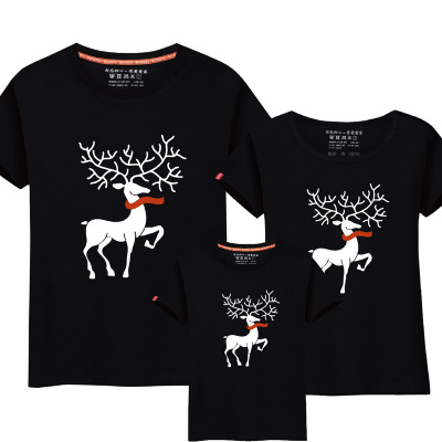 Christmas Mom Daughter Clothes Father Son Matching Clothing Family Look Family Clothing Dad Mom Boy T-Shirt Cartoon Milu Deer