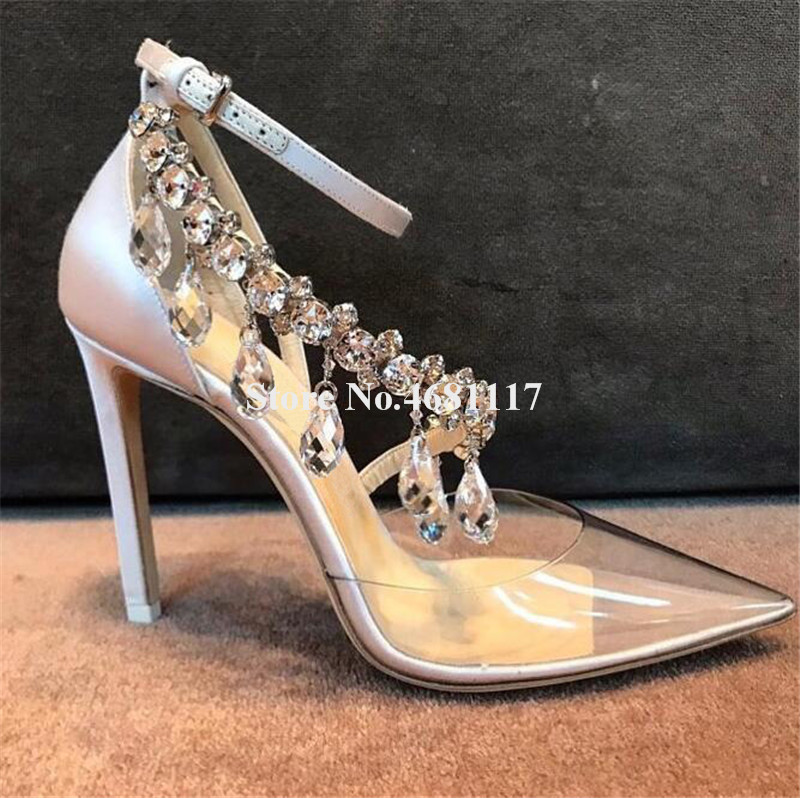 À Mince Mariage Strass Escarpins Femmes Brillant Bride Cheville Transparent Hauts Talon Talons La Chaussures Avec Pointu Luxueux Bout Diamant De Pvc 8qYvRq7f