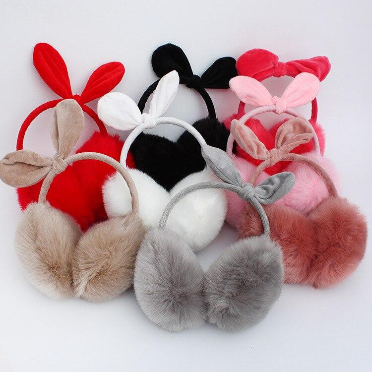 2018 nuevo invierno orejeras de felpa de Piel de mujer orejeras de invierno calentadores de oreja de gato de dibujos animados estilo de oreja de felpa caliente Paquete de oreja