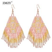 ZMZY Tassel Handmade Female Earrings Fashion Wedding Jewelry Vintage Bohemian Glass Crystal Beads Drop For Women