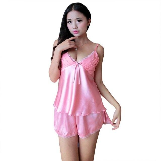 c90807564a0 Women Satin Lace Robe Shorts Babydoll Sleepwear Nightwear 2pcs Pajamas Set Hot  Sale