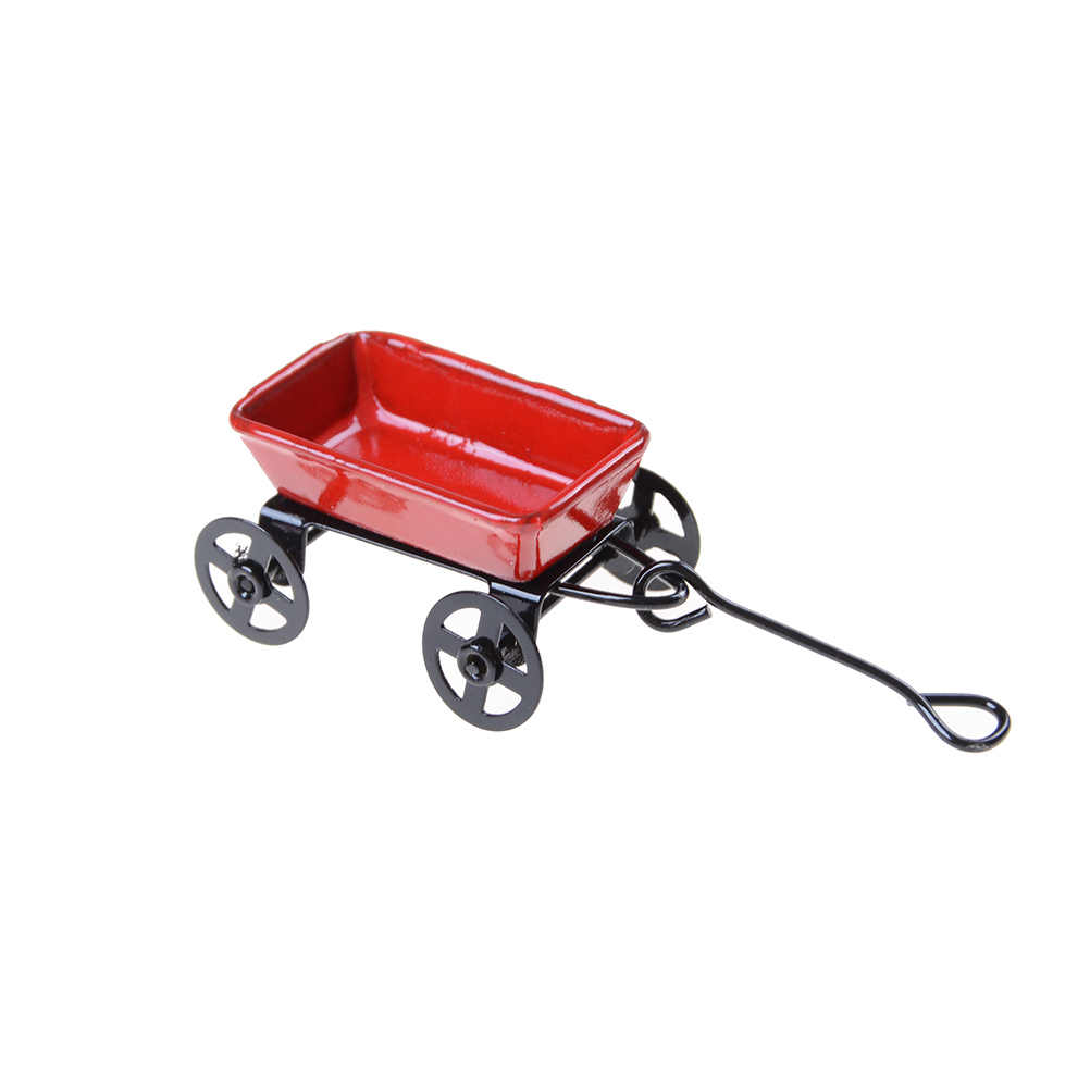 1:12 Mini Cute Dollhouse Miniature Metal Red Small Pulling Cart Garden Furniture Accessorie Toy For Home Decor Gift Ornament