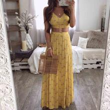 Women Elegant Summer Yellow V-Neck Sleeveless Suit Set Backless Spaghetti Strap Floral Print Cami Top & Thigh Slit Skirt Sets floral print random box pleat cami top