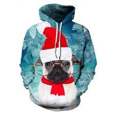 Harajuku Santa Cat Elf Dog Christmas Tree 3D Digital Print Streetwear mens Hoodies HipHop Women Pull Sweat Couple