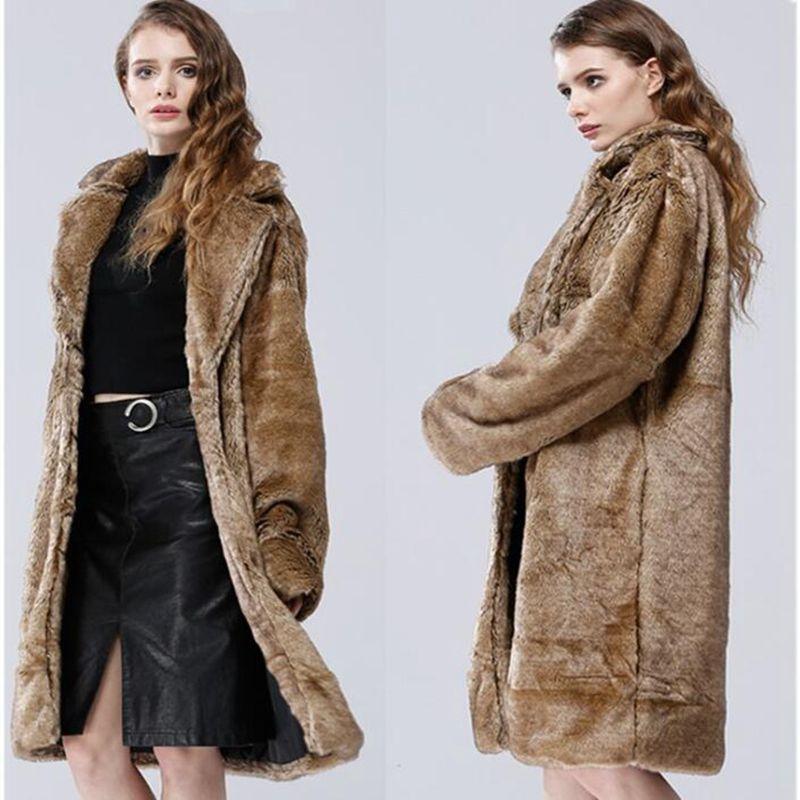 Fashion women's faux fox fur coat female faux fur coat mink coat women's long section plus size windbreaker coat woman parkas