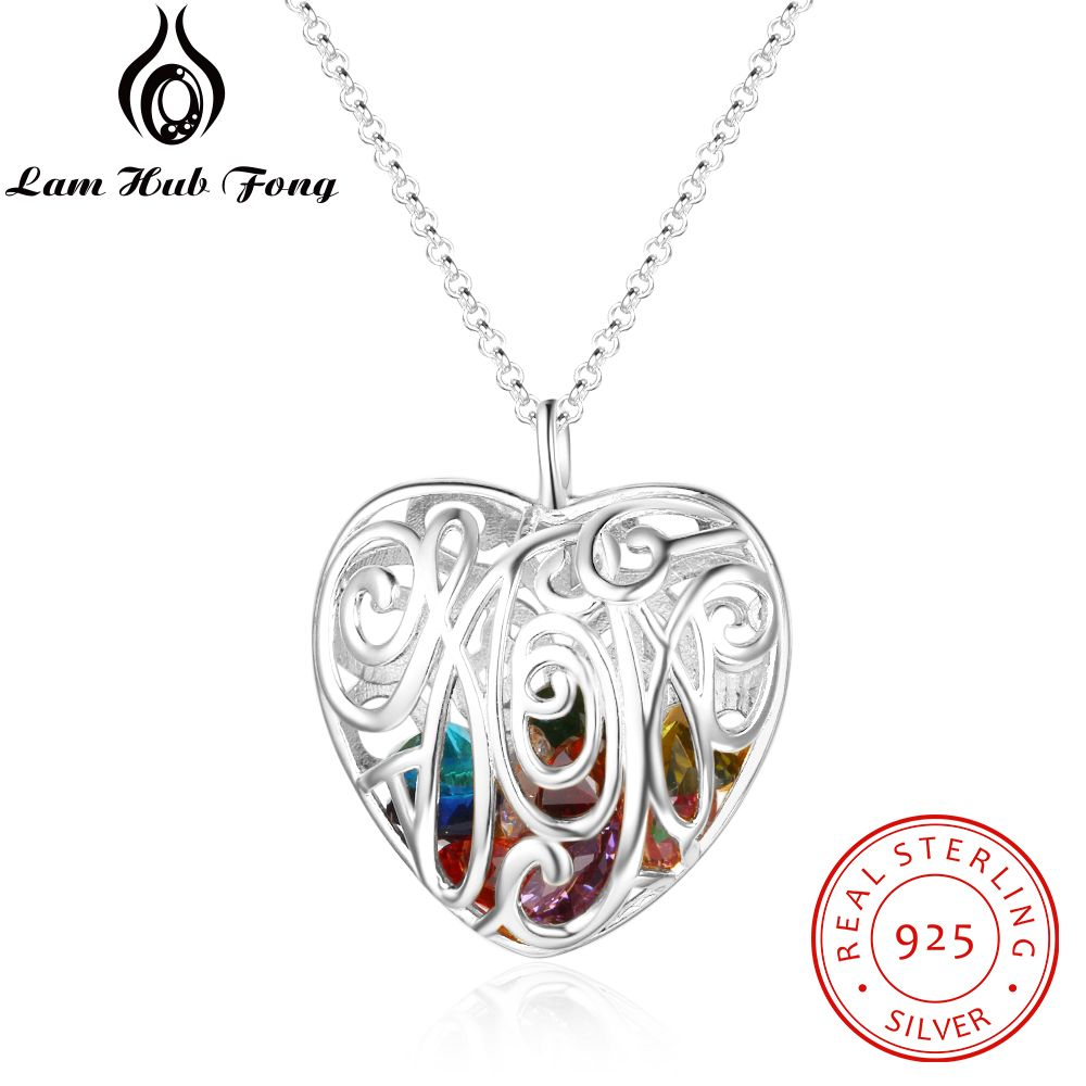 Personalized 925 Sterling Silver Heart Pendant Necklace Birthstone Hollow Out Cage Necklace Jewelry Gift for Wife (Lam Hub Fong)